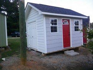 garden sheds Garner, NC shake siding, horizontal siding, shed with steps