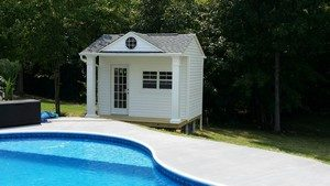 Pool Sheds, sheds with patio doors, sheds with dormer, sheds with porches, Apex, NC